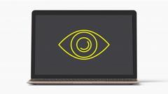 4k - Laptop with eye symbol Stock Footage