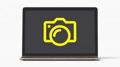 4k - Laptop with camera symbol Stock Footage