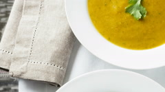 Carrot and coriander soup Stock Footage