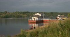 Pier on the Volga River. Plyos Russia.  Stock Footage