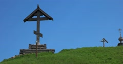 Old wooden cross on the mountain. Plyos Stock Footage