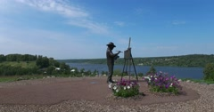 A monument to the painter Levitan. View on the Volga river. Plyos Stock Footage