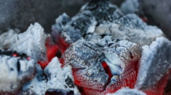 Live coals. smoldering charcoal barbecue Stock Footage