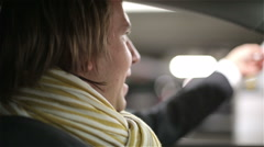 Driver is paying through the opened window for parking and driving away. Stock Footage