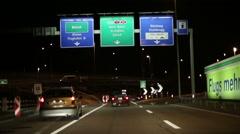 Night highway. View through the car windshield. Switzerland. Zurich. Stock Footage