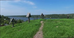 The crosses in the old cemetery on the hill. Views of the river Volga. Plyos Stock Footage