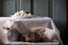 Homemade cottage cheese Stock Photos