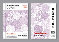 Floral brochure cover design - stock illustration