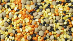 Varied types of Lentils - stock footage