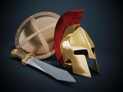Ancient Greek helmet, shield and sword - stock illustration