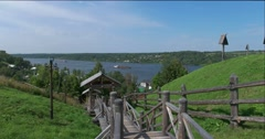 A wooden staircase on the mount Levitan in Plyos Stock Footage