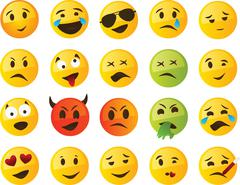 Yellow smiley or emoticon set - stock illustration