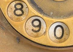 Close up of Vintage phone dial - 9 - stock photo