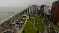 Stunning and gorgeous Miraflores coastline and Town landscapes in Lima Stock Footage