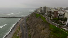 Great Miraflores coastline and Town landscapes in Lima Stock Footage