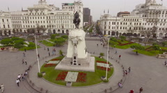 Monument to Jose de San Martin on the Plaza San Martin in Lima, Peru Stock Footage