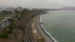 Stunning Miraflores coastline and Town landscapes in Lima - stock footage