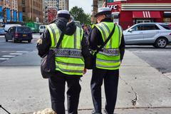 two nypd crossing guards - stock photo
