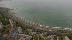 View of Miraflores coast with residential buildings Stock Footage