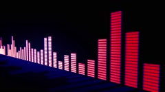 Music control levels. Glow pink-red with blue glow audio equalizer bars - stock footage