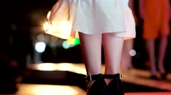 Feet model on the catwalk before defiles at a night fashion show. - stock footage