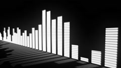 Music control levels. Glow black and white audio equalizer bars - stock footage