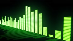 Music control levels. Glow acid-green audio equalizer bars - stock footage