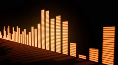 Music control levels. Glow red-orange audio equalizer bars Stock Footage