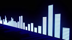 Music control levels. Glow blue audio equalizer bars Stock Footage