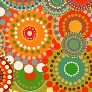 Textile color retro background ornament circles Stock Illustration