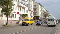 City traffic on overcast day, Mogilev, Belarus Stock Footage