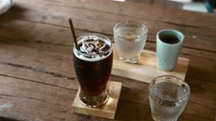 Ice coffee northern style in Thailand Stock Footage