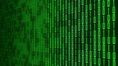 Green Digital Binary Computer Screen Stock Footage
