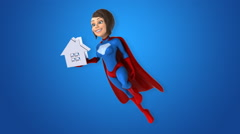 Super woman - computer animation Stock Footage