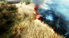 Aerial view of dry grass burning in steppe - stock footage