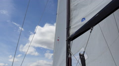 The sail of a sail boat sailing in summer Stock Footage