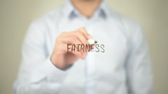 Fairness , Man writing on transparent screen Stock Footage