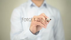 Forget the Past , Man writing on transparent screen - stock footage