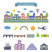 City constructor icons set - stock illustration