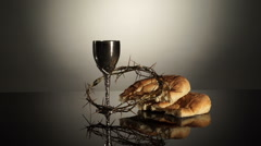 The Elements Of Communion Eucharist Stock Footage