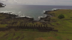 15 Moai and Sleeping Moai at Ahu Tongariki Stock Footage