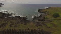 15 Moai and Sleeping Moai at Ahu Tongariki - stock footage