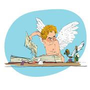 Bully angel pulls out the book page Stock Illustration