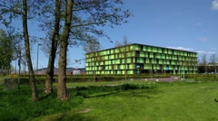 Radix building for Plant Research, with sunblinds in green and earth tones Stock Footage