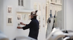 Street Artist In The Marais Quarter In Paris, France - stock footage