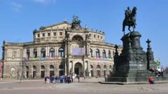 Semperoper Opera House in Dresden Stock Footage