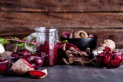Cooking healthy dinner from beetroots - stock photo