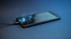 Spectacular сharging smartphone using a USB cable. Stock Footage