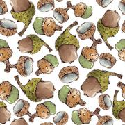 Seamless Vector Pattern with Watercolor Acorns Stock Illustration
