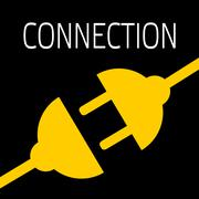 Concept connection or disconnection electricity. Yellow power plug on black b Stock Illustration